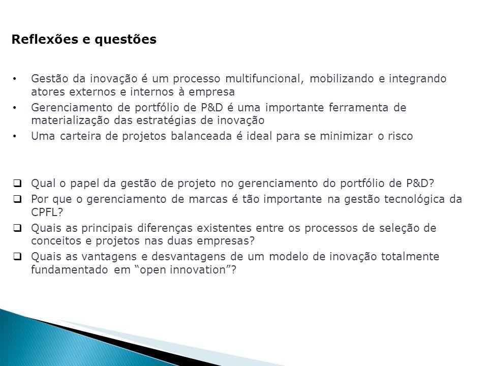 Reflexões e questões Gestão da inovação é um processo multifuncional, mobilizando e integrando atores externos e internos à empresa Gerenciamento de p