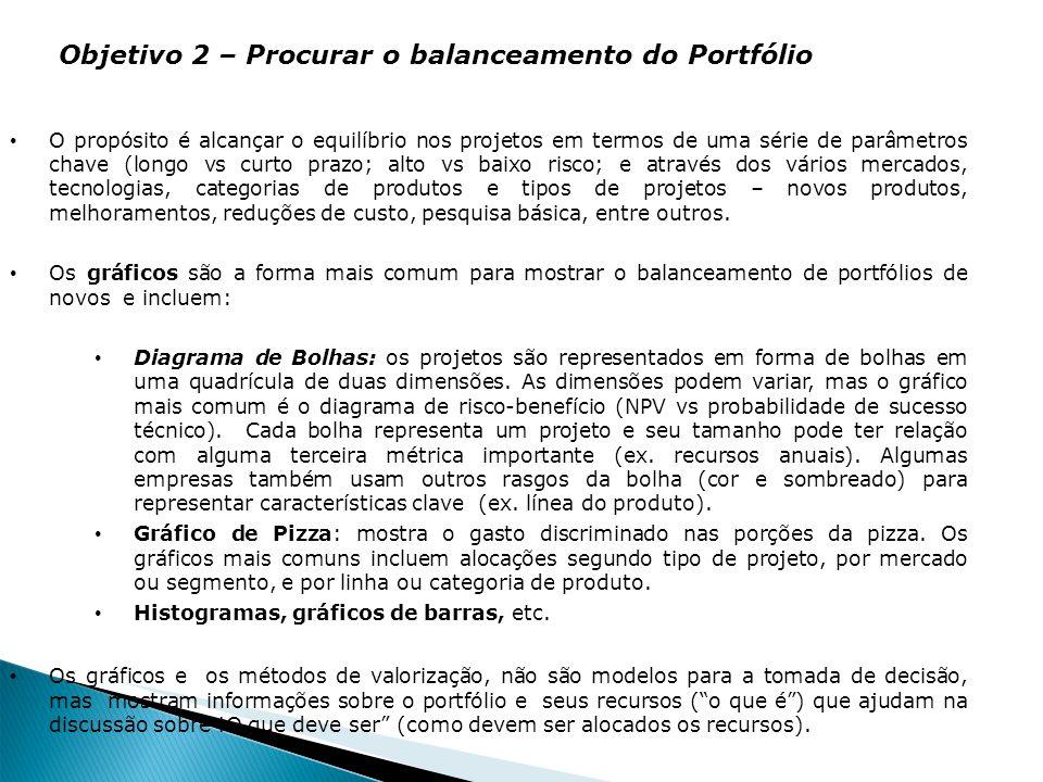Objetivo 2 – Procurar o balanceamento do Portfólio O propósito é alcançar o equilíbrio nos projetos em termos de uma série de parâmetros chave (longo