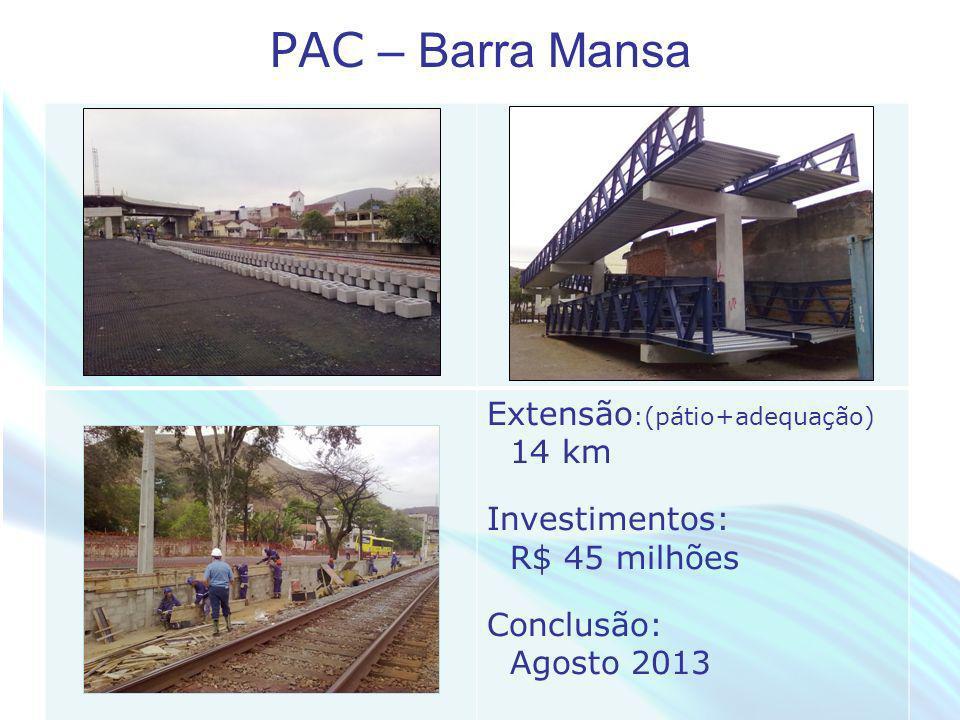 April 20 – 21, 2010, Bogota, COLOMBIA PAC – Barra Mansa Extensão :(pátio+adequação) 14 km Investimentos: R$ 45 milhões Conclusão: Agosto 2013