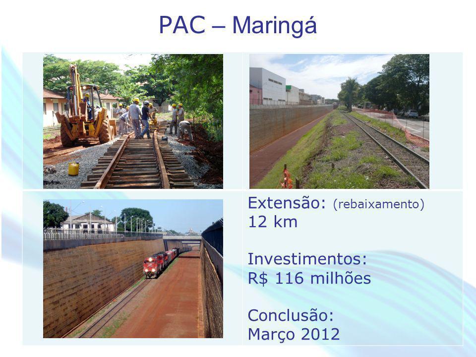 April 20 – 21, 2010, Bogota, COLOMBIA PAC – Maringá Extensão: (rebaixamento) 12 km Investimentos: R$ 116 milhões Conclusão: Março 2012