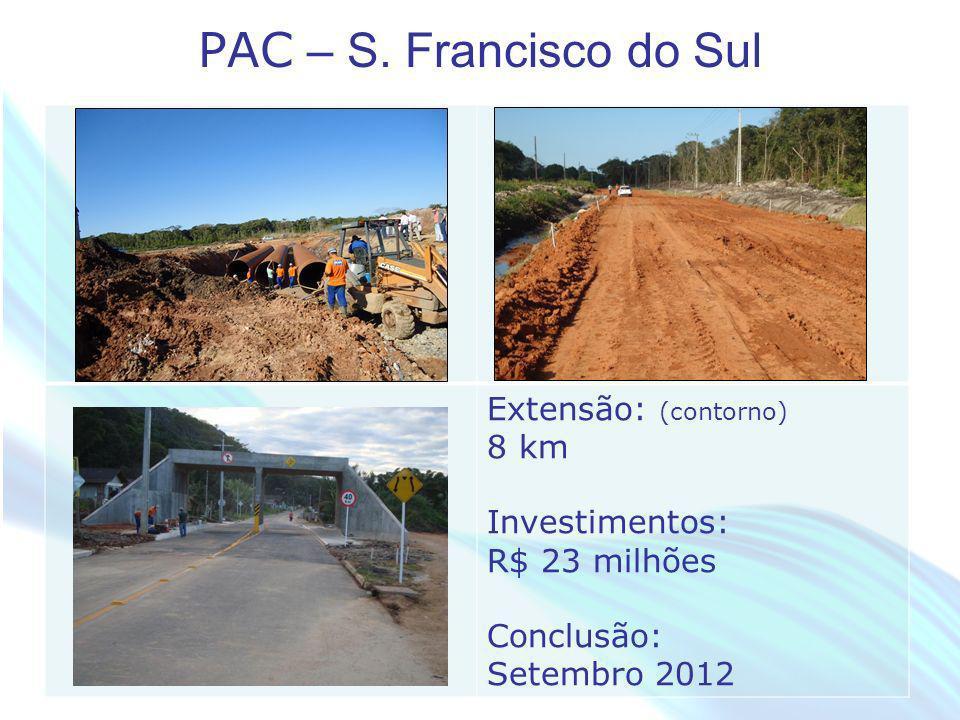 April 20 – 21, 2010, Bogota, COLOMBIA PAC – S. Francisco do Sul Extensão: (contorno) 8 km Investimentos: R$ 23 milhões Conclusão: Setembro 2012