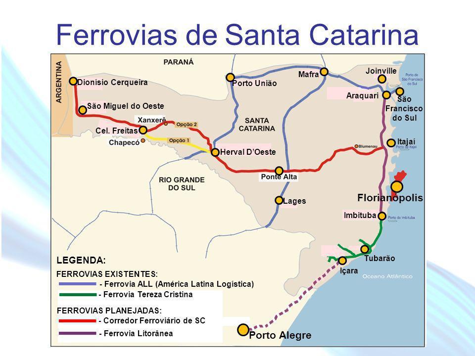 April 20 – 21, 2010, Bogota, COLOMBIA Ferrovias de Santa Catarina Tubarão Içara Imbituba Araquari Mafra Porto União Herval DOeste Cel. Freitas Dionísi