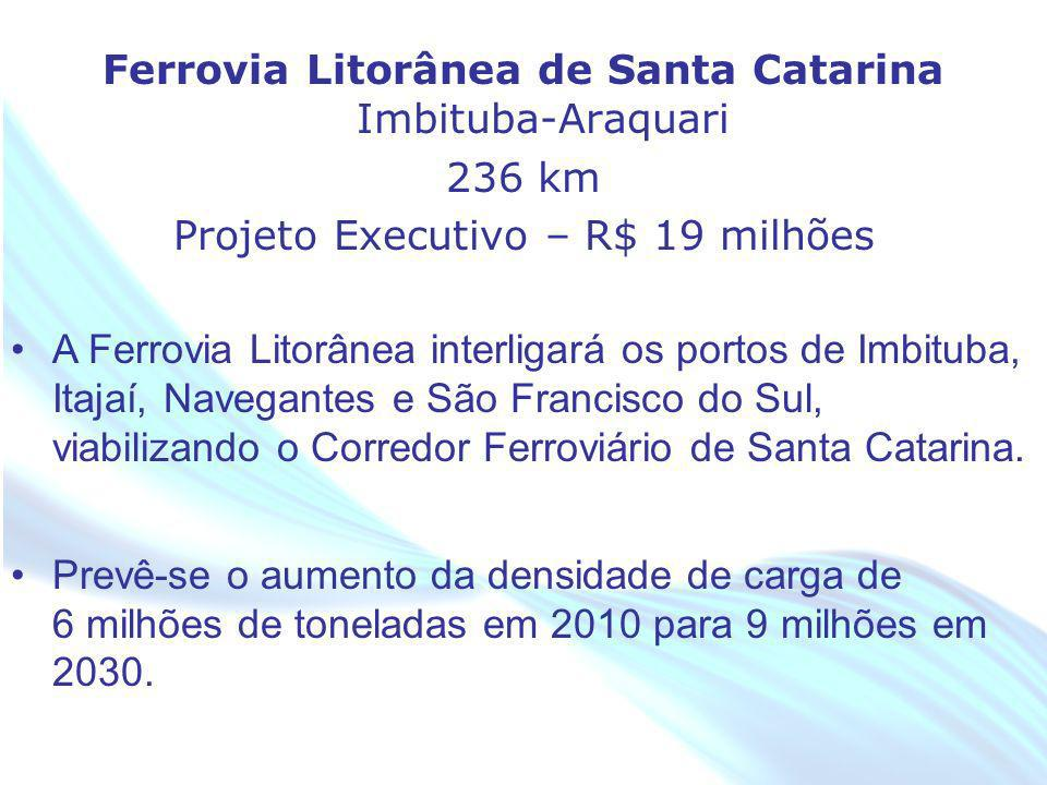 April 20 – 21, 2010, Bogota, COLOMBIA Ferrovia Litorânea de Santa Catarina Imbituba-Araquari 236 km Projeto Executivo – R$ 19 milhões A Ferrovia Litor