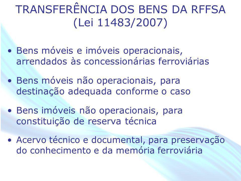 April 20 – 21, 2010, Bogota, COLOMBIA TRANSFERÊNCIA DOS BENS DA RFFSA (Lei 11483/2007) Bens móveis e imóveis operacionais, arrendados às concessionári