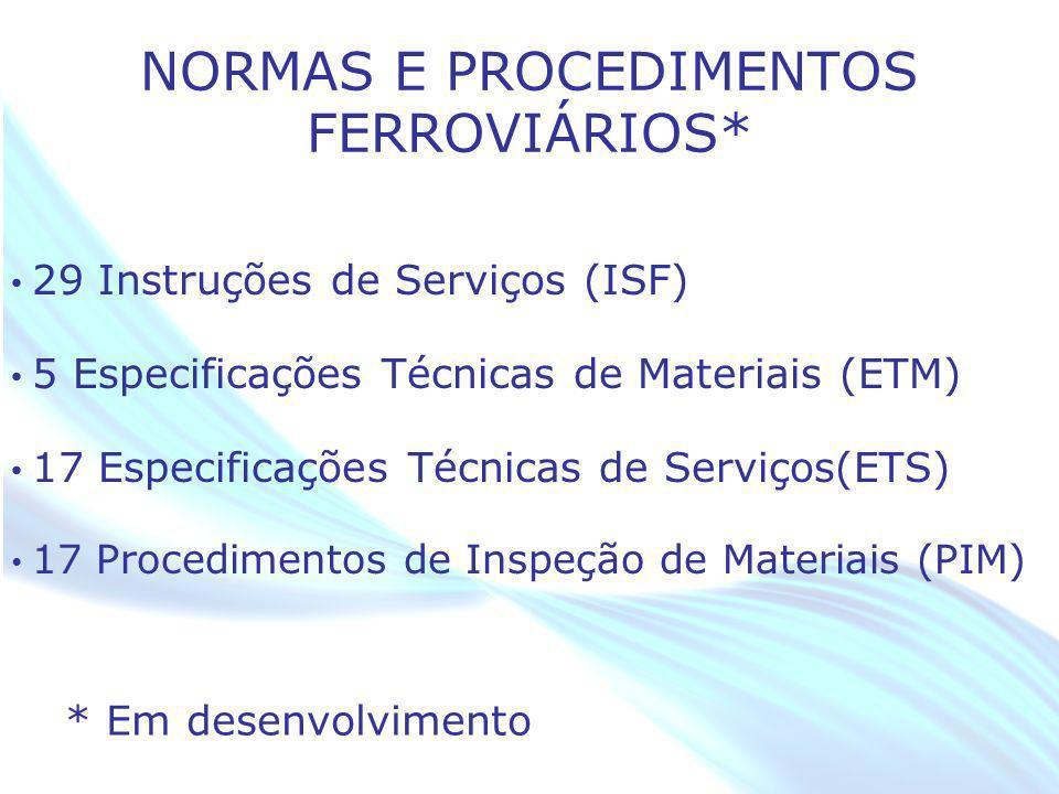 April 20 – 21, 2010, Bogota, COLOMBIA NORMAS E PROCEDIMENTOS FERROVIÁRIOS* 29 Instruções de Serviços (ISF) 5 Especificações Técnicas de Materiais (ETM