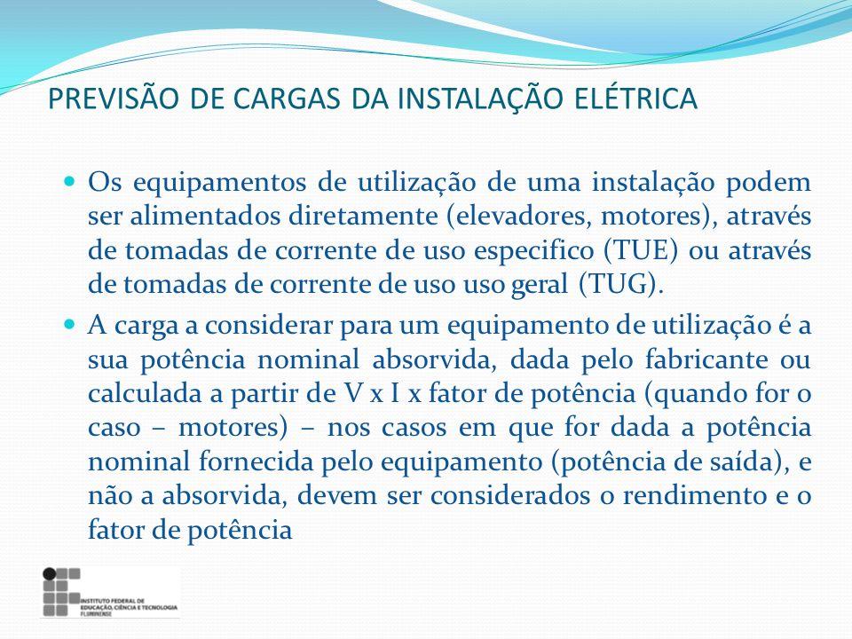 Os equipamentos de utilização de uma instalação podem ser alimentados diretamente (elevadores, motores), através de tomadas de corrente de uso especif