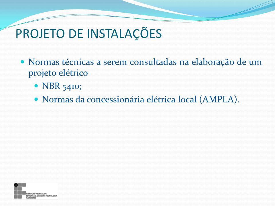 PROJETO DE INSTALAÇÕES Normas técnicas a serem consultadas na elaboração de um projeto elétrico NBR 5410; Normas da concessionária elétrica local (AMP