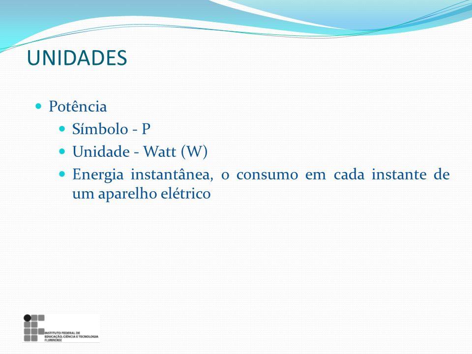 Potência Símbolo - P Unidade - Watt (W) Energia instantânea, o consumo em cada instante de um aparelho elétrico UNIDADES