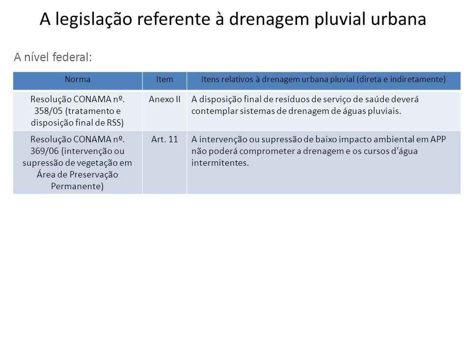 A nível federal: NormaItemItens relativos à drenagem urbana pluvial (direta e indiretamente) Resolução CONAMA nº. 358/05 (tratamento e disposição fina