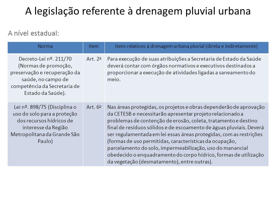 A nível estadual: NormaItemItens relativos à drenagem urbana pluvial (direta e indiretamente) Decreto-Lei nº. 211/70 (Normas de promoção, preservação