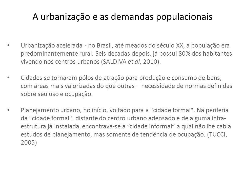 A urbanização e as demandas populacionais Urbanização acelerada - no Brasil, até meados do século XX, a população era predominantemente rural. Seis dé