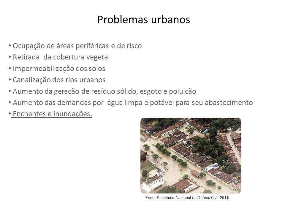 Problemas urbanos Ocupação de áreas periféricas e de risco Retirada da cobertura vegetal Impermeabilização dos solos Canalização dos rios urbanos Aume