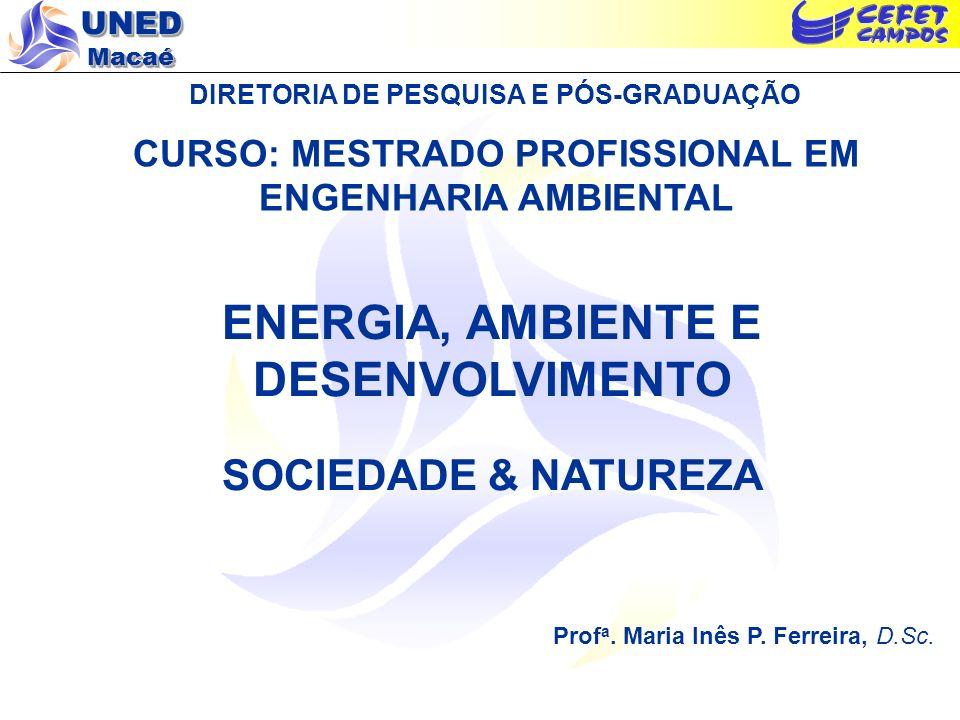 UNED Macaé DIRETORIA DE PESQUISA E PÓS-GRADUAÇÃO CURSO: MESTRADO PROFISSIONAL EM ENGENHARIA AMBIENTAL ENERGIA, AMBIENTE E DESENVOLVIMENTO SOCIEDADE &