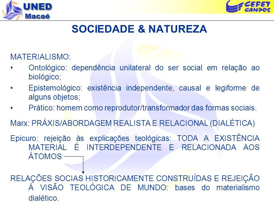 UNED Macaé SOCIEDADE & NATUREZA MATERIALISMO: Ontológico: dependência unilateral do ser social em relação ao biológico; Epistemológico: existência ind