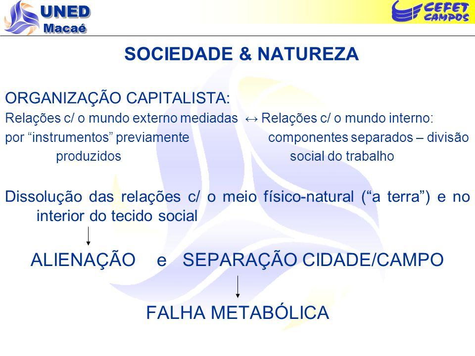 UNED Macaé SOCIEDADE & NATUREZA ORGANIZAÇÃO CAPITALISTA: Relações c/ o mundo externo mediadas Relações c/ o mundo interno: por instrumentos previament
