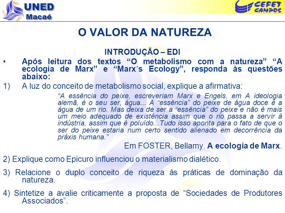 UNED Macaé O VALOR DA NATUREZA INTRODUÇÃO – EDI Após leitura dos textos O metabolismo com a natureza A ecologia de Marx e Marx´s Ecology, responda às