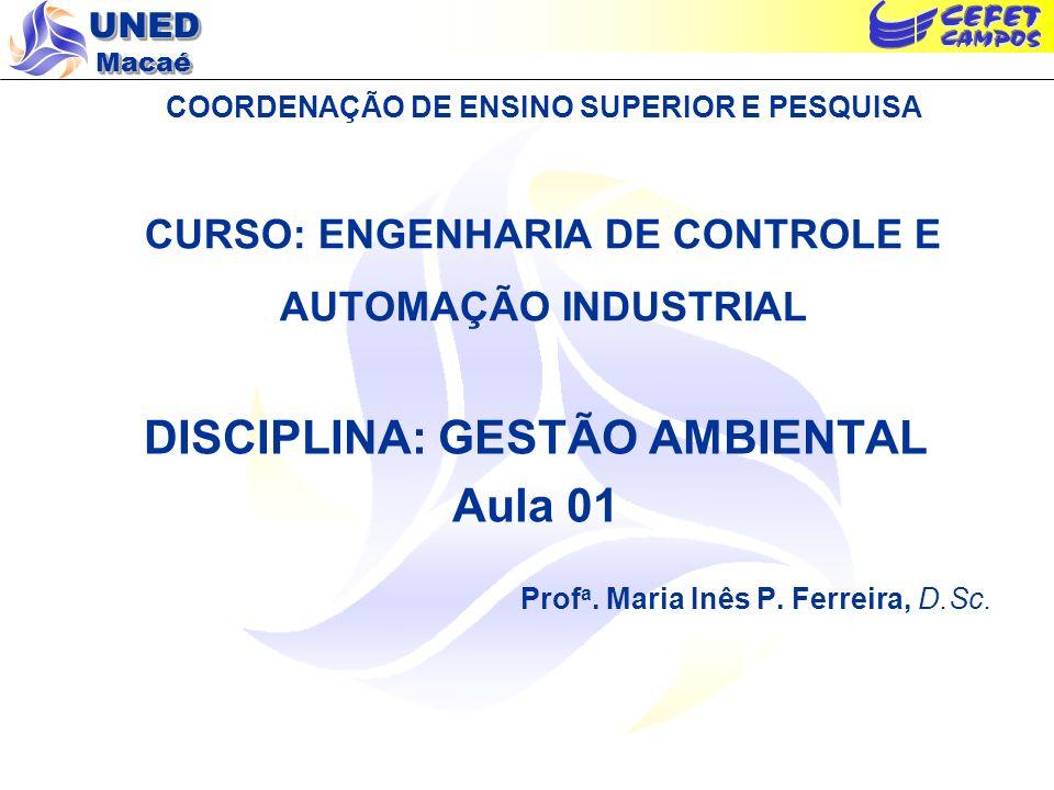 UNED Macaé COORDENAÇÃO DE ENSINO SUPERIOR E PESQUISA CURSO: ENGENHARIA DE CONTROLE E AUTOMAÇÃO INDUSTRIAL DISCIPLINA: GESTÃO AMBIENTAL Aula 01 Prof a.