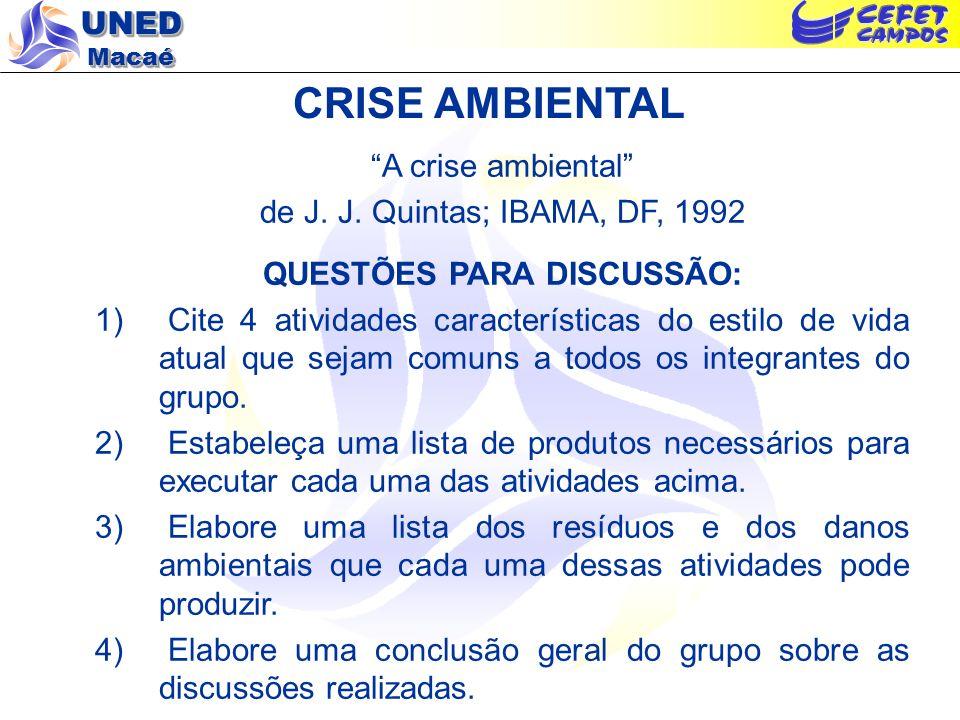 UNED Macaé CRISE AMBIENTAL A crise ambiental de J. J. Quintas; IBAMA, DF, 1992 QUESTÕES PARA DISCUSSÃO: 1) Cite 4 atividades características do estilo