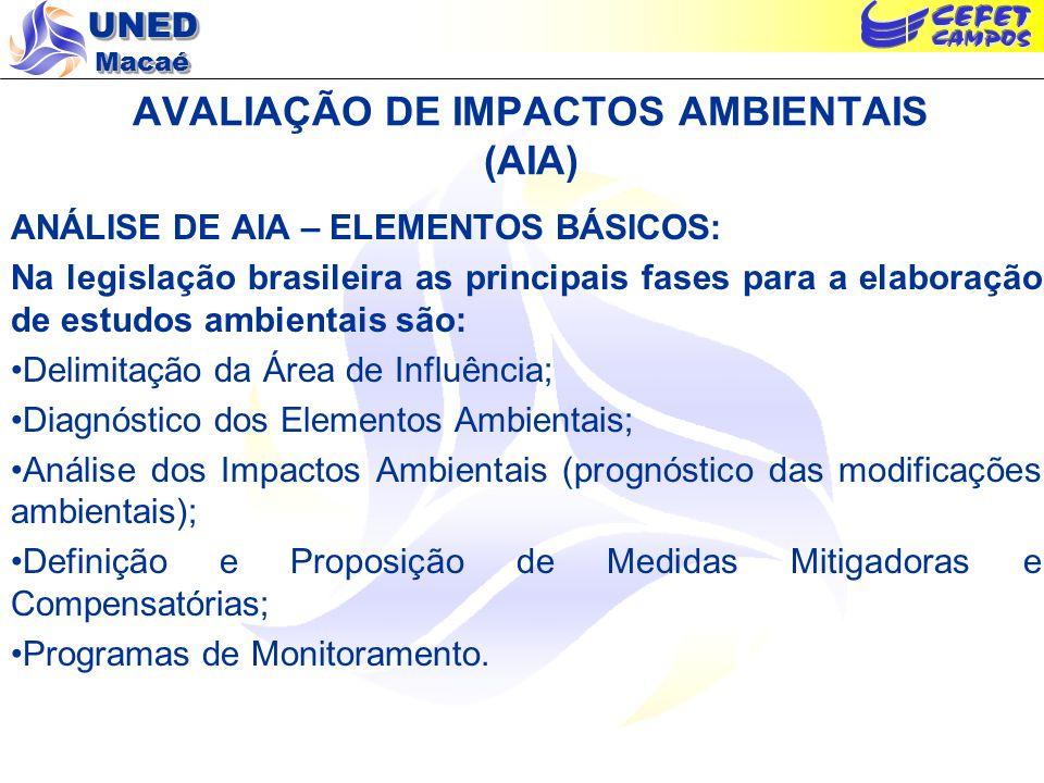 UNED Macaé AVALIAÇÃO DE IMPACTOS AMBIENTAIS (AIA) ANÁLISE DE AIA – ELEMENTOS BÁSICOS: Delimitação da Área de Influência: A localização do empreendimento e a definição de sua área de influência são as atitudes iniciais para se iniciar a AIA.