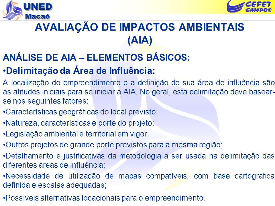 UNED Macaé AVALIAÇÃO DE IMPACTOS AMBIENTAIS (AIA) ANÁLISE DE AIA – ELEMENTOS BÁSICOS: Delimitação da Área de Influência: A localização do empreendimen