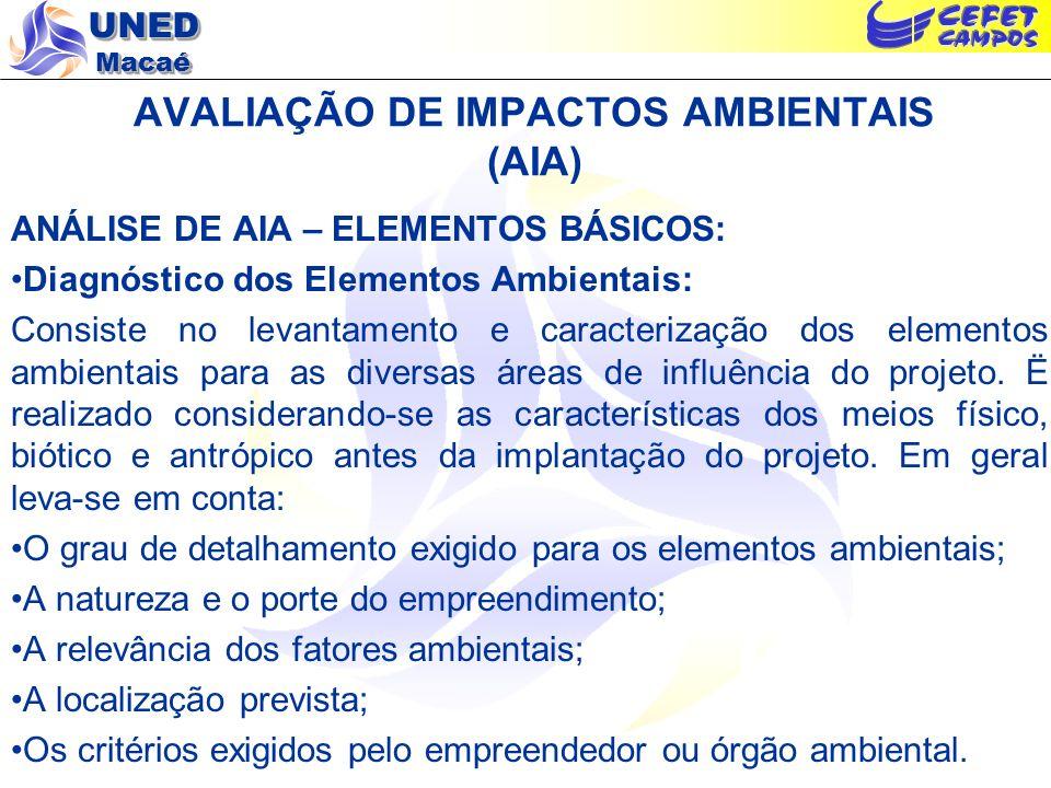 UNED Macaé AVALIAÇÃO DE IMPACTOS AMBIENTAIS (AIA) ANÁLISE DE AIA – ELEMENTOS BÁSICOS: Diagnóstico dos Elementos Ambientais: Consiste no levantamento e
