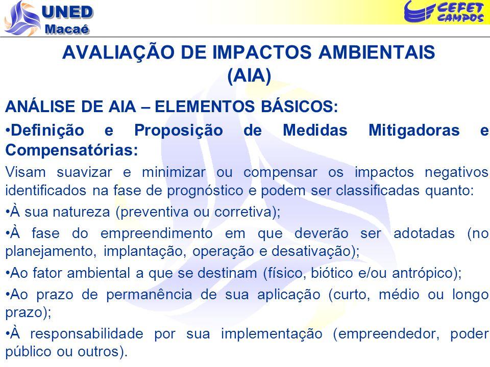 UNED Macaé AVALIAÇÃO DE IMPACTOS AMBIENTAIS (AIA) ANÁLISE DE AIA – ELEMENTOS BÁSICOS: Definição e Proposição de Medidas Mitigadoras e Compensatórias: