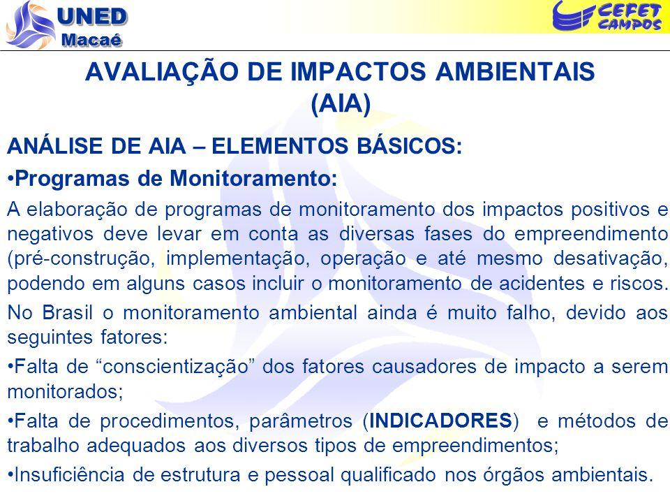 UNED Macaé AVALIAÇÃO DE IMPACTOS AMBIENTAIS (AIA) ANÁLISE DE AIA – ELEMENTOS BÁSICOS: Programas de Monitoramento: A elaboração de programas de monitor