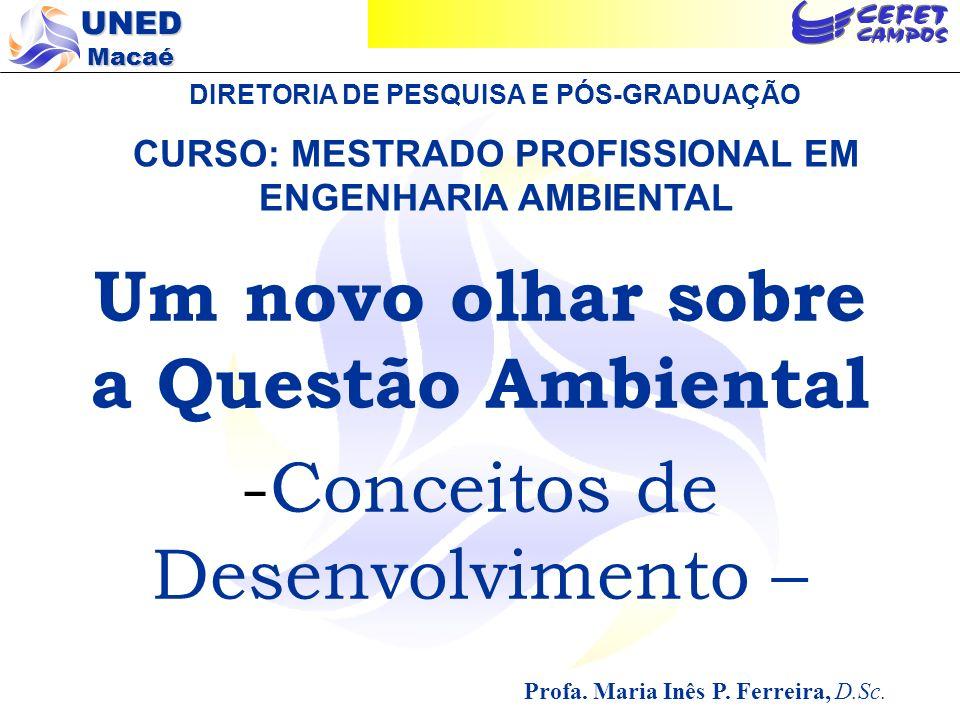 UNED Macaé O MODELO ATUAL DE DESENVOLVIMENTO Premissas: 1 - suprimento inesgotável de matéria e energia; 2 - capacidade infinita do meio em reciclar matéria e absorver resíduos Fonte: Braga, 2005