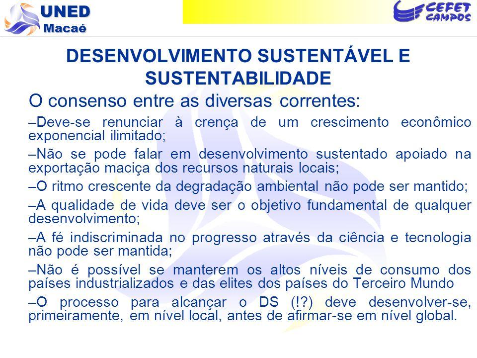 UNED Macaé DESENVOLVIMENTO SUSTENTÁVEL E SUSTENTABILIDADE O consenso entre as diversas correntes: –Deve-se renunciar à crença de um crescimento econôm