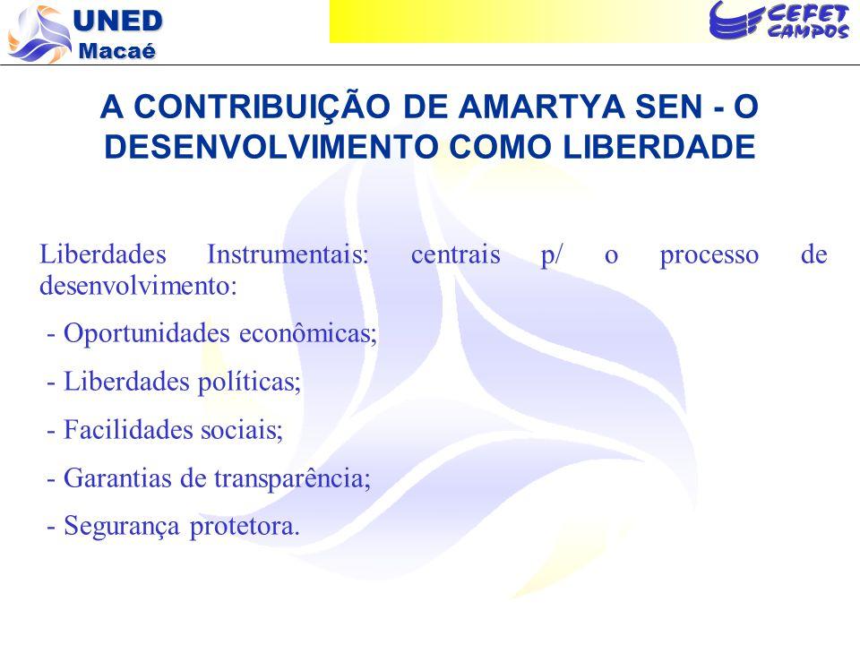 UNED Macaé A CONTRIBUIÇÃO DE AMARTYA SEN - O DESENVOLVIMENTO COMO LIBERDADE Liberdades Instrumentais: centrais p/ o processo de desenvolvimento: - Opo
