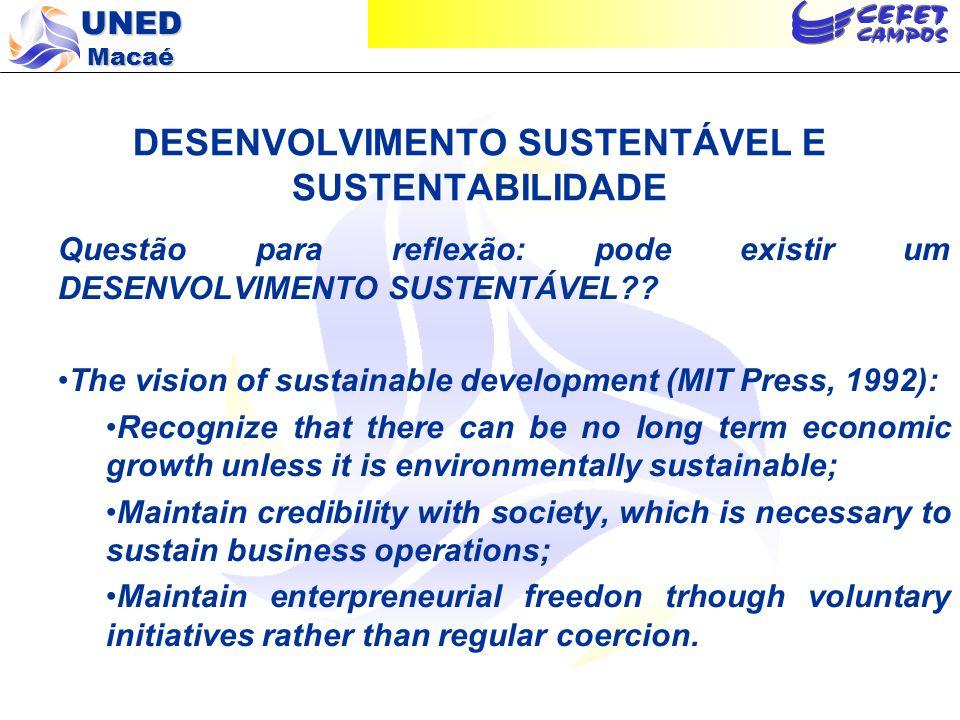 UNED Macaé DESENVOLVIMENTO SUSTENTÁVEL E SUSTENTABILIDADE Questão para reflexão: pode existir um DESENVOLVIMENTO SUSTENTÁVEL?? The vision of sustainab