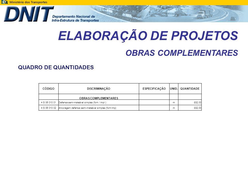 ELABORAÇÃO DE PROJETOS OBRAS COMPLEMENTARES QUADRO DE QUANTIDADES CÓDIGODISCRIMINAÇÃOESPECIFICAÇÃOUNID.QUANTIDADE OBRAS COMPLEMENTARES 4 S 06 010 01De