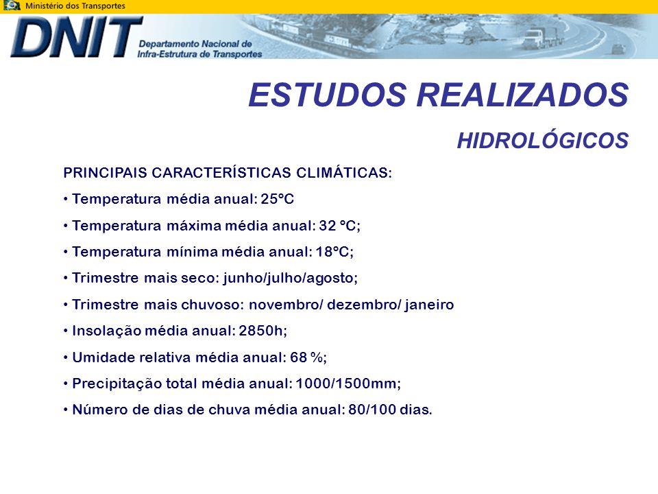 ESTUDOS REALIZADOS HIDROLÓGICOS PRINCIPAIS CARACTERÍSTICAS CLIMÁTICAS: Temperatura média anual: 25ºC Temperatura máxima média anual: 32 ºC; Temperatur