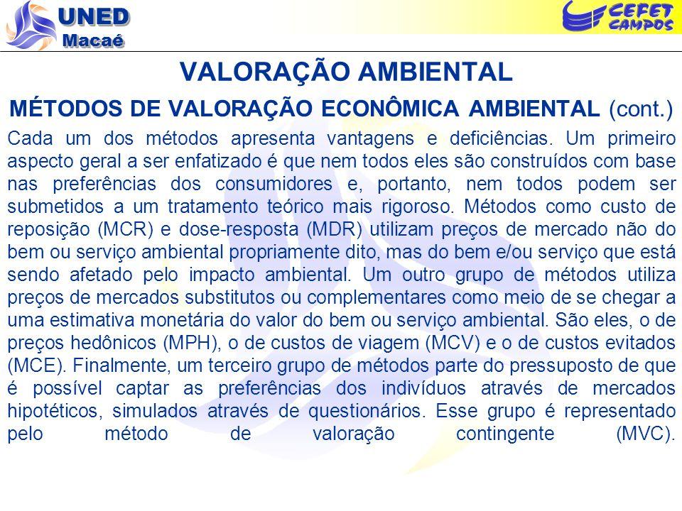 UNED Macaé VALORAÇÃO AMBIENTAL MÉTODOS DE VALORAÇÃO ECONÔMICA AMBIENTAL (cont.) Cada um dos métodos apresenta vantagens e deficiências. Um primeiro as