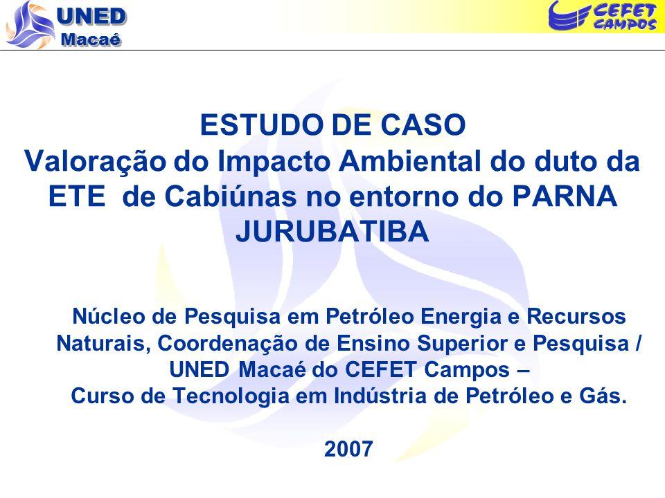 UNED Macaé ESTUDO DE CASO Valoração do Impacto Ambiental do duto da ETE de Cabiúnas no entorno do PARNA JURUBATIBA Núcleo de Pesquisa em Petróleo Ener