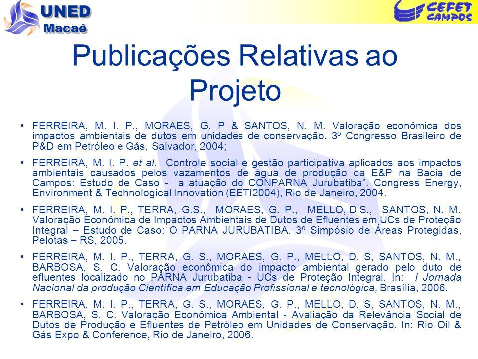 UNED Macaé Publicações Relativas ao Projeto FERREIRA, M. I. P., MORAES, G. P & SANTOS, N. M. Valoração econômica dos impactos ambientais de dutos em u