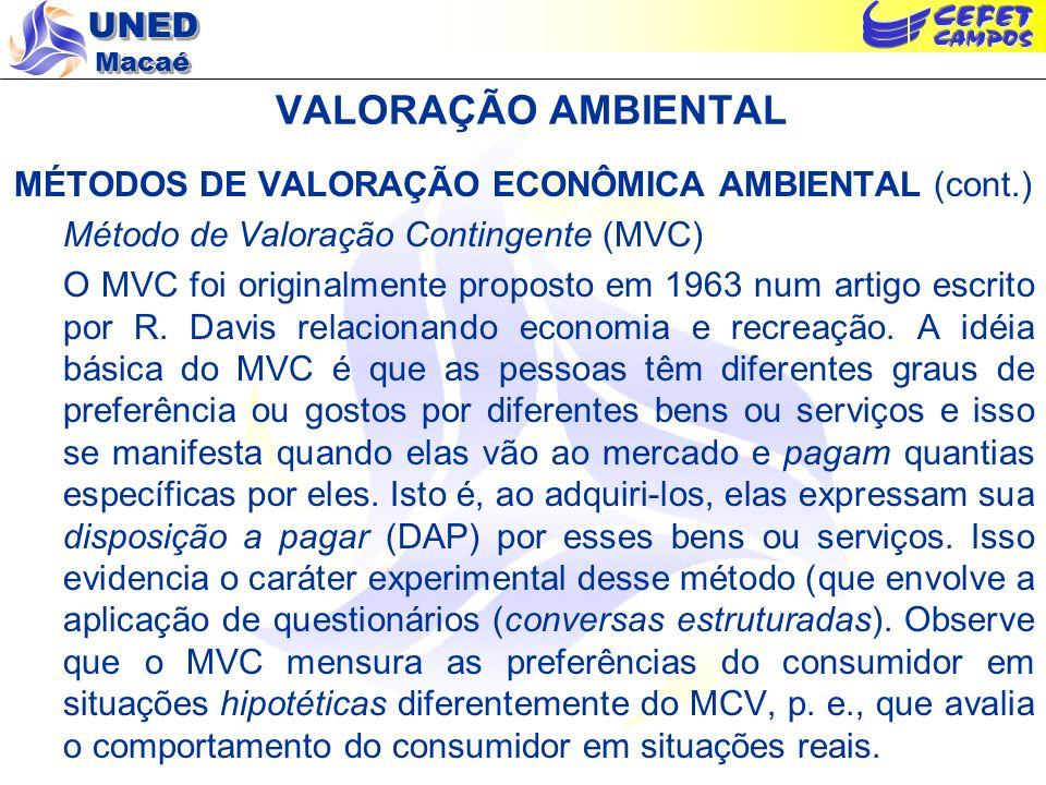UNED Macaé VALORAÇÃO AMBIENTAL MÉTODOS DE VALORAÇÃO ECONÔMICA AMBIENTAL (cont.) Método de Valoração Contingente (MVC) O MVC foi originalmente proposto