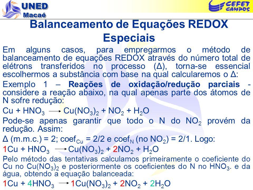 UNED Macaé Balanceamento de Equações REDOX Especiais Em alguns casos, para empregarmos o método de balanceamento de equações REDOX através do número t