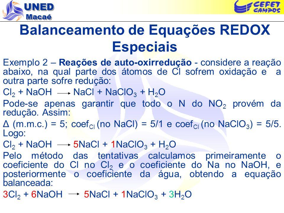 UNED Macaé Balanceamento de Equações REDOX Especiais Exemplo 2 – Reações de auto-oxirredução - considere a reação abaixo, na qual parte dos átomos de
