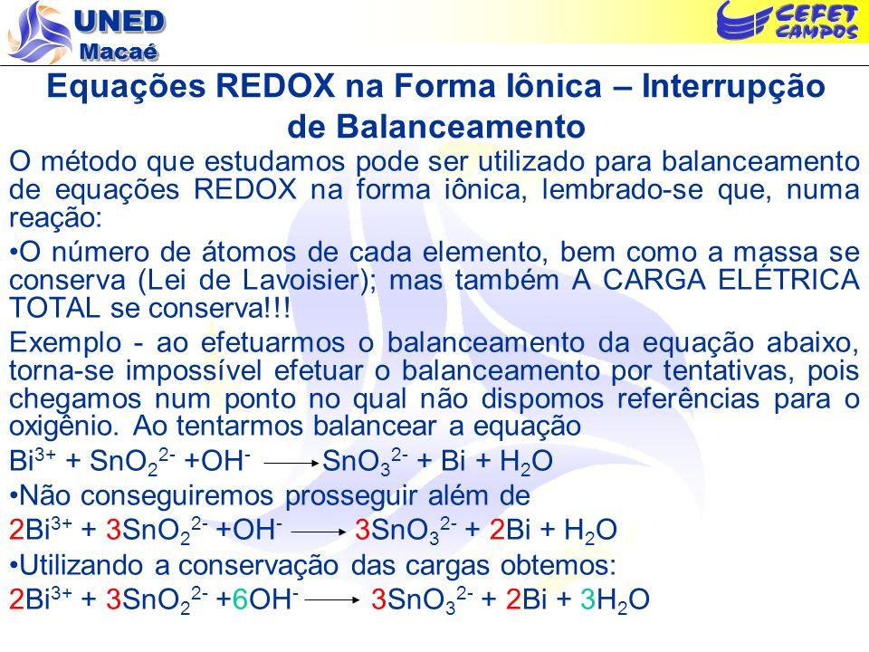 UNED Macaé Equações REDOX na Forma Iônica – Interrupção de Balanceamento O método que estudamos pode ser utilizado para balanceamento de equações REDO