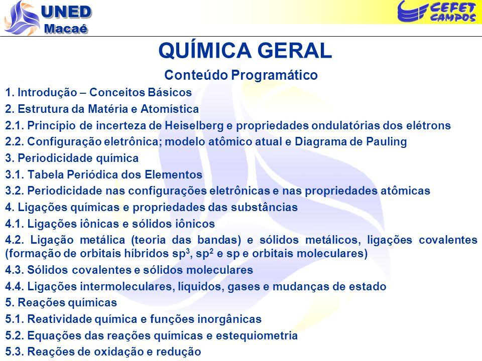 UNED Macaé QUÍMICA GERAL Conteúdo Programático 1. Introdução – Conceitos Básicos 2. Estrutura da Matéria e Atomística 2.1. Princípio de incerteza de H