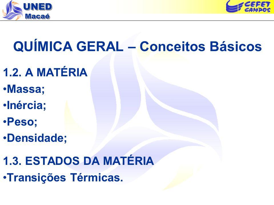 UNED Macaé QUÍMICA GERAL – Conceitos Básicos 1.2. A MATÉRIA Massa; Inércia; Peso; Densidade; 1.3. ESTADOS DA MATÉRIA Transições Térmicas.