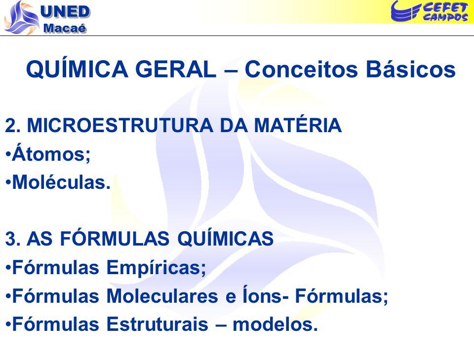 UNED Macaé QUÍMICA GERAL – Conceitos Básicos 2. MICROESTRUTURA DA MATÉRIA Átomos; Moléculas. 3. AS FÓRMULAS QUÍMICAS Fórmulas Empíricas; Fórmulas Mole