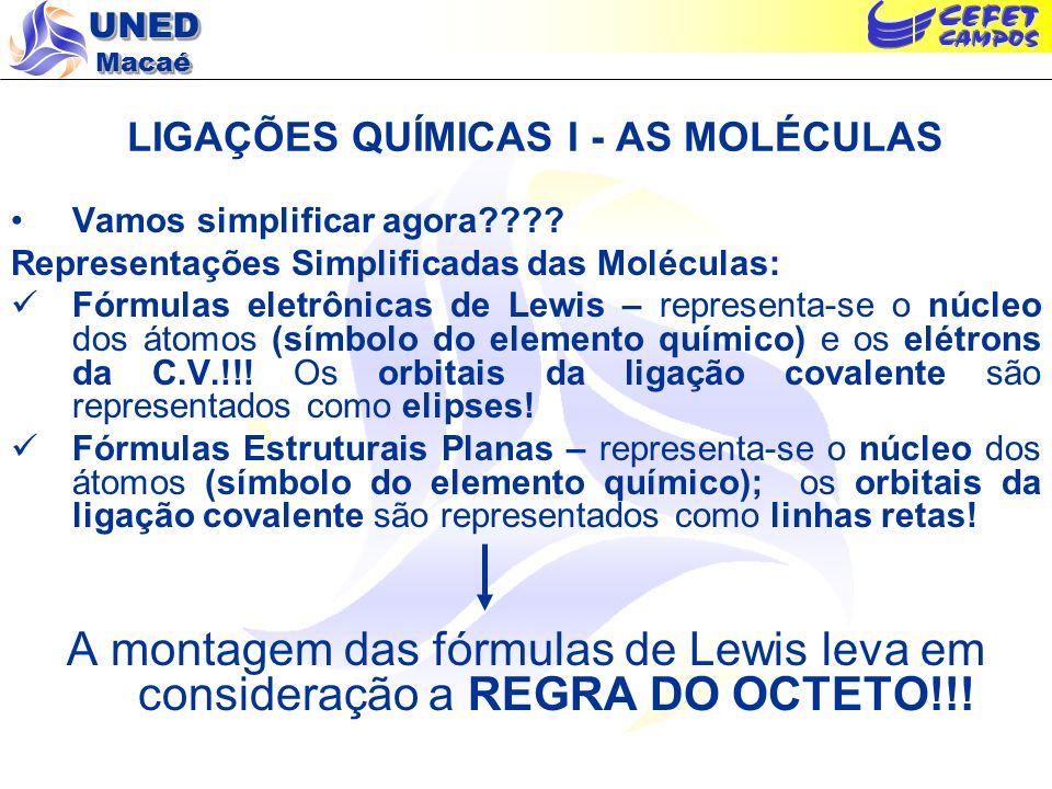 UNED Macaé LIGAÇÕES QUÍMICAS I - AS MOLÉCULAS Vamos simplificar agora???? Representações Simplificadas das Moléculas: Fórmulas eletrônicas de Lewis –