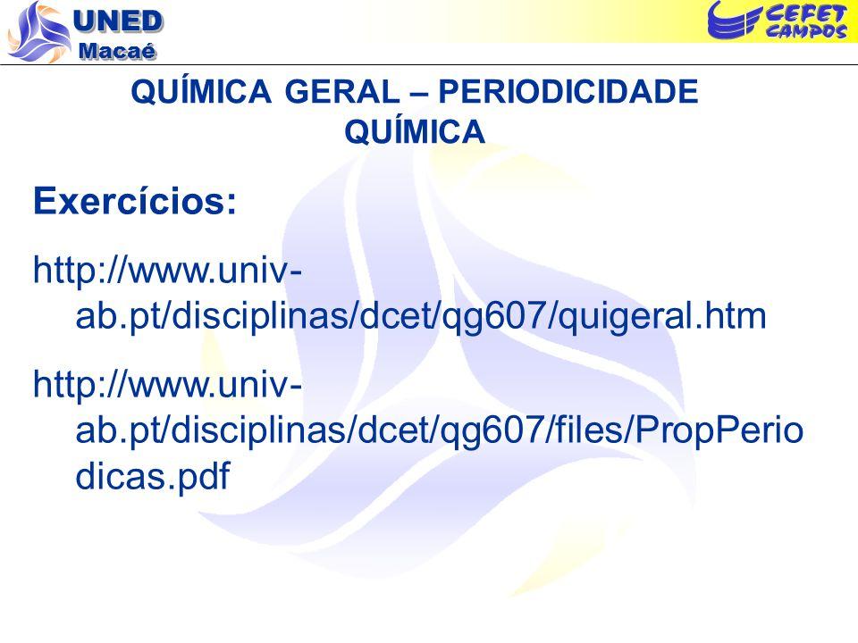 UNED Macaé QUÍMICA GERAL – PERIODICIDADE QUÍMICA Exercícios: http://www.univ- ab.pt/disciplinas/dcet/qg607/quigeral.htm http://www.univ- ab.pt/discipl