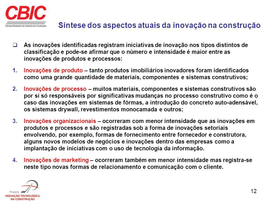 12 Síntese dos aspectos atuais da inovação na construção As inovações identificadas registram iniciativas de inovação nos tipos distintos de classific