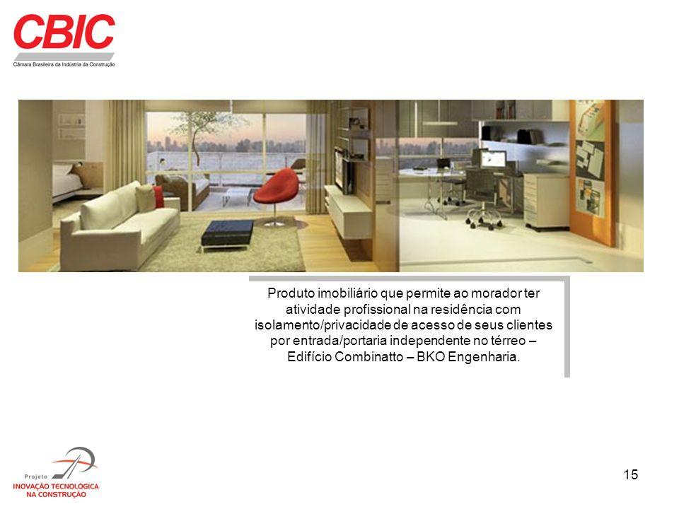 15 Produto imobiliário que permite ao morador ter atividade profissional na residência com isolamento/privacidade de acesso de seus clientes por entra