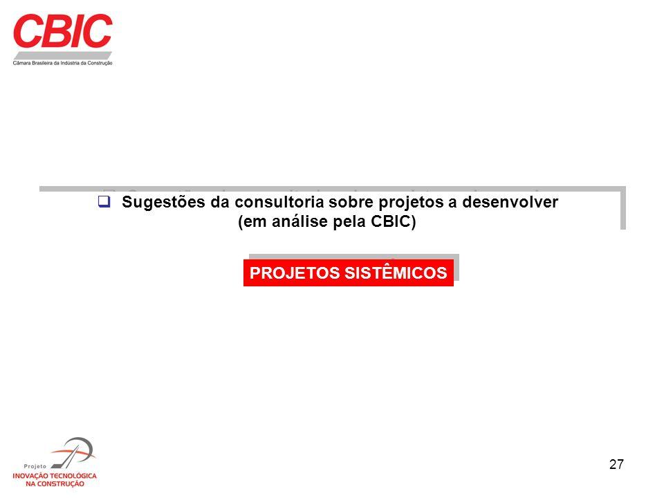 27 Sugestões da consultoria sobre projetos a desenvolver (em análise pela CBIC) Sugestões da consultoria sobre projetos a desenvolver (em análise pela