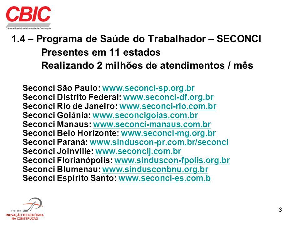 3 1.4 – Programa de Saúde do Trabalhador – SECONCI Presentes em 11 estados Realizando 2 milhões de atendimentos / mês Seconci São Paulo: www.seconci-s