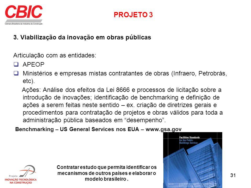 31 3. Viabilização da inovação em obras públicas Articulação com as entidades: APEOP Ministérios e empresas mistas contratantes de obras (Infraero, Pe